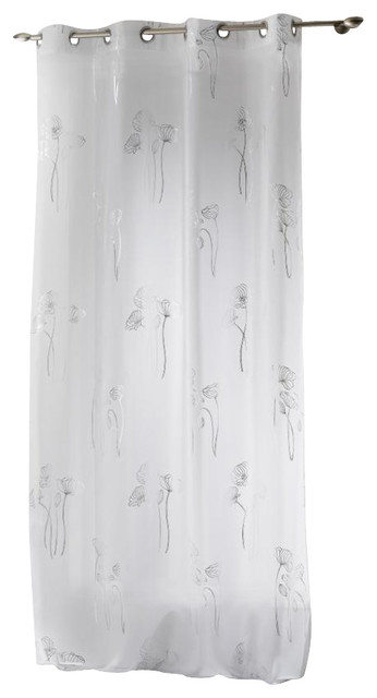 """Printed Sheer Grommet Curtain Panel Bianca White And Silver 55""""x95""""."""