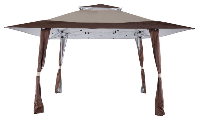 Outdoor 13&x27; X 13&x27; Pop Up Canopy Yard Patio Double Roof Canopy Tent, Brown Beige.