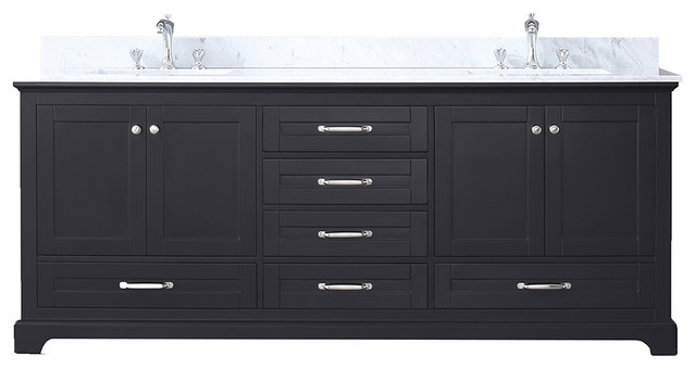 "Dukes 80"" Double Vanity, White Carrera Marble Top, White Square Sinks, Espresso"