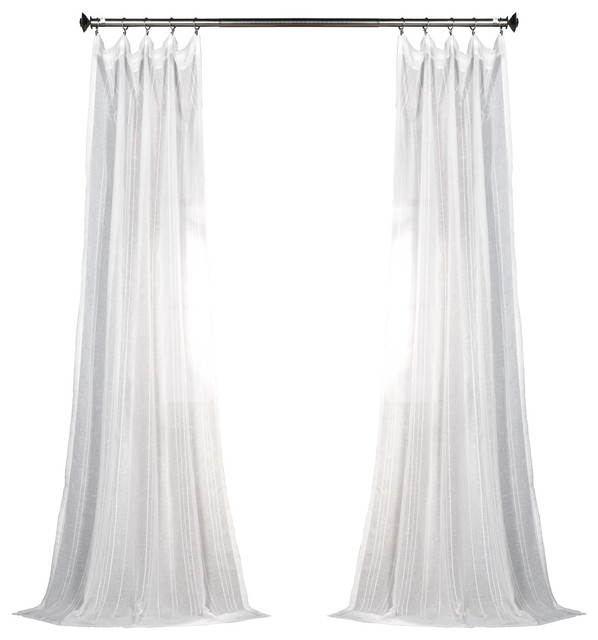 "Bordeauxstriped Fauxlinen Sheer Curtain Single Panel, 50""x84""."