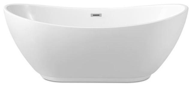 "62"" Streamline N-580-62fswh-Fm Soaking Freestanding Tub With Internal Drain."
