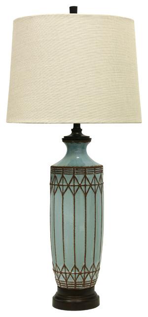 Costa Mesa Ceramic Table Lamp, Dark Wood Finish, Cream Hardback Fabric Shade.