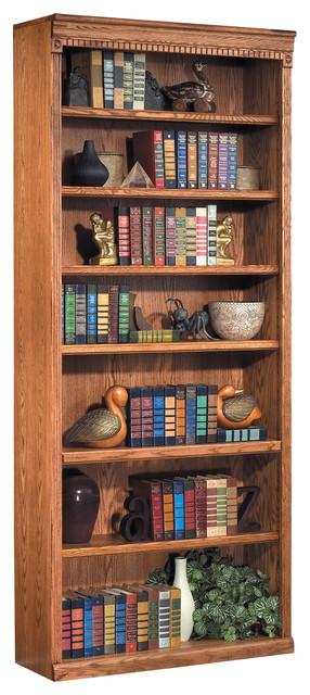 "Kathy Ireland Home Huntington Oxford 7-Shelf 84"" Wood Bookcase, Wheat."