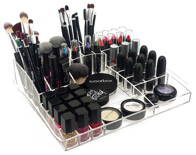 Deluxe Makeup Organizer, Acrylic Table Top Tray For Cosmetics And Jewelry  Modern Dresser