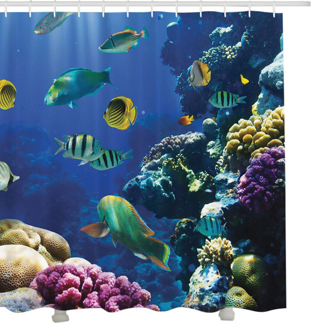 Under Water Tropical Coral Reef Fish Fabric Shower Curtain