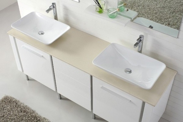 Bathroom Sinks Double Basin catalan 1800 - contemporary double basin white vanity