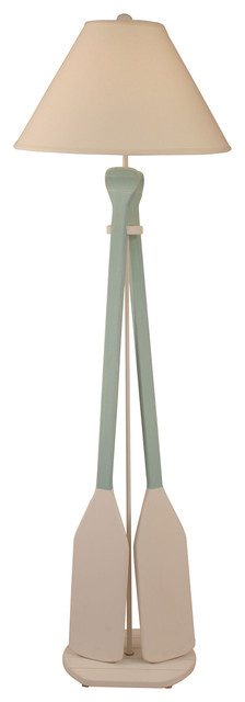 Nude/shaded Cove 2-Paddle Floor Lamp.