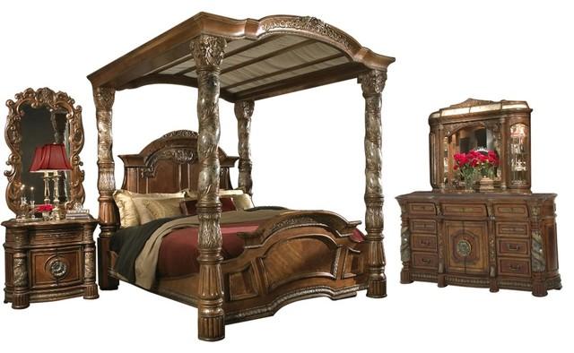 Aico Villa Valencia Canopy Classic Chestnut Bedroom Set