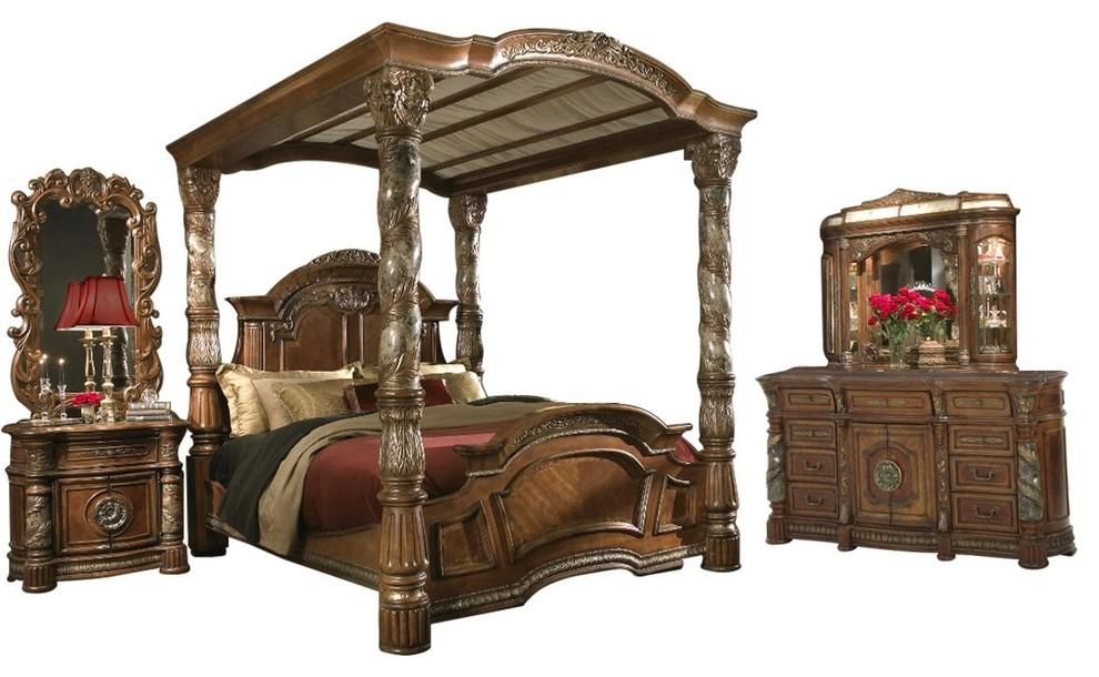 AICO Villa Valencia Canopy Classic Chestnut Bedroom Set, California King