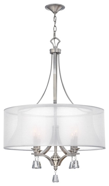 4-Light Pendant Chandelier With Crystal Hangings