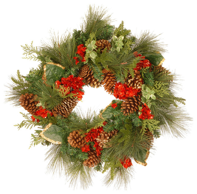 """27"""" Hydrangea Pine Wreath Red And Green."""