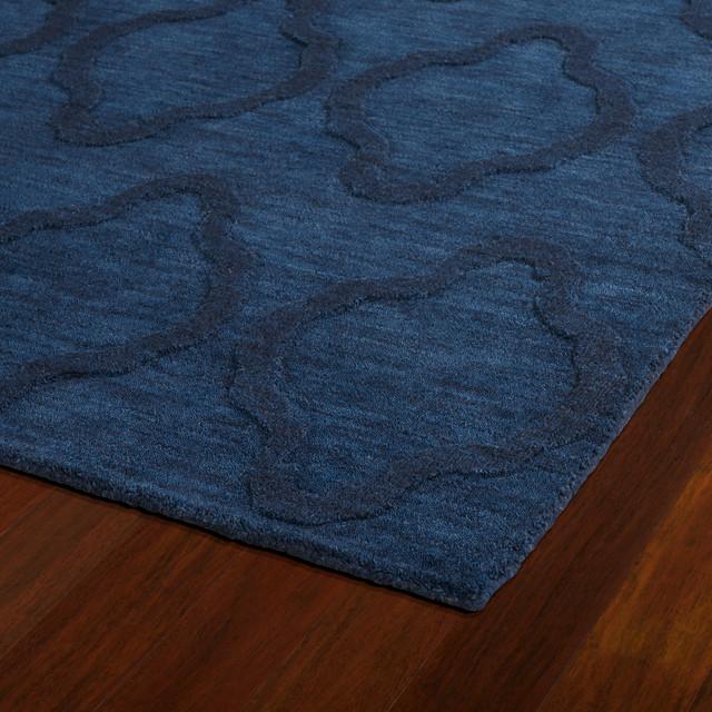Kaleen Hand Tufted Imprints Modern Wool Rug, Navy, 8&x27;x11&x27;.