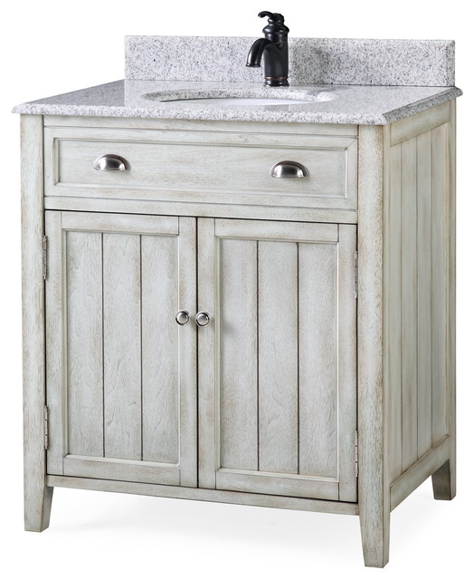 32 Benedetta Distressed Gray Bathroom Vanity Farmhouse Bathroom Vanities And Sink Consoles By Chans Furniture Houzz