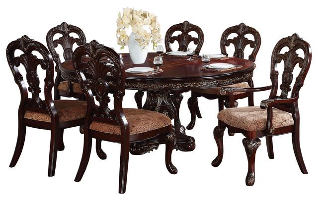 Homelegance Deryn Park Oval Pedestal Dining Table Cherry