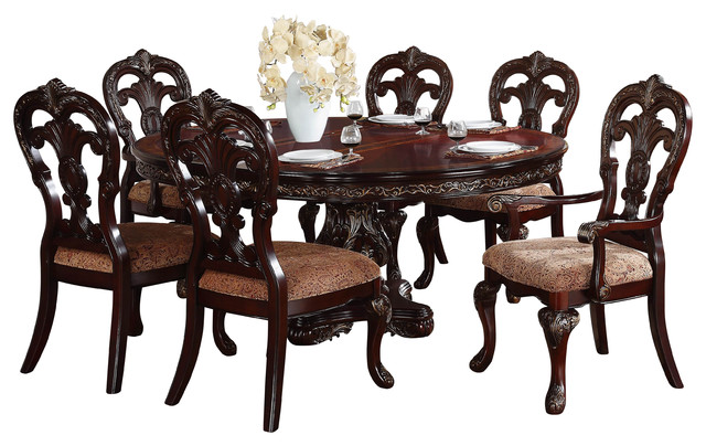 homelegance deryn park oval pedestal dining table in cherry traditional