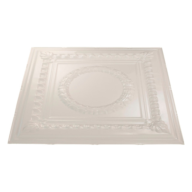 "24""x24"" Fasade Rosette Lay-In Ceiling Tile, Gloss White."
