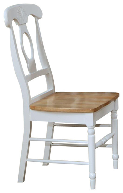 Napoleon Style Dining Side Chairs Natural Solid Wood Seat, Set Of 2  Farmhouse