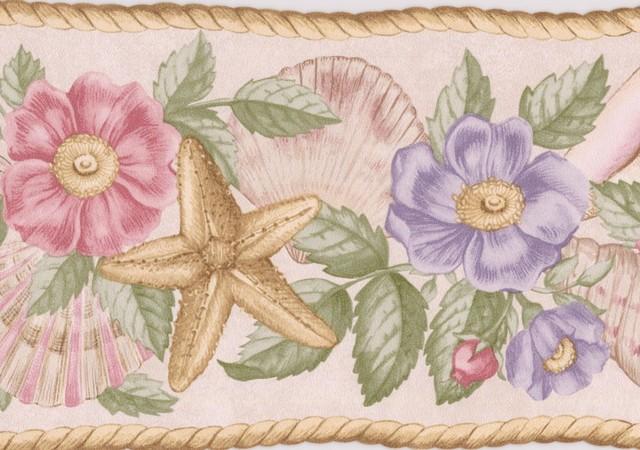 Pink Lavender Flowers Seashells Starfish Nature Wallpaper Border Retro Design