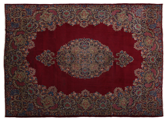 Consigned Oversize Antique Kerman Persian Rug Large