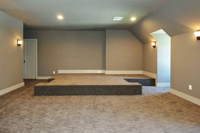 Home theater - transitional enclosed carpeted home theater idea in Other with gray walls
