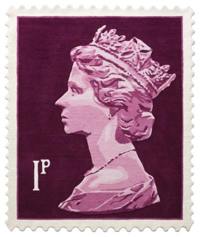 Purple 1p Stamp Rug, 100x120 cm