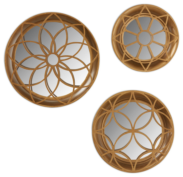 decorative gold mirrors. Set of 3 Kate and Laurel Laurent Decorative Dimensional Mirror  Gold contemporary wall piece