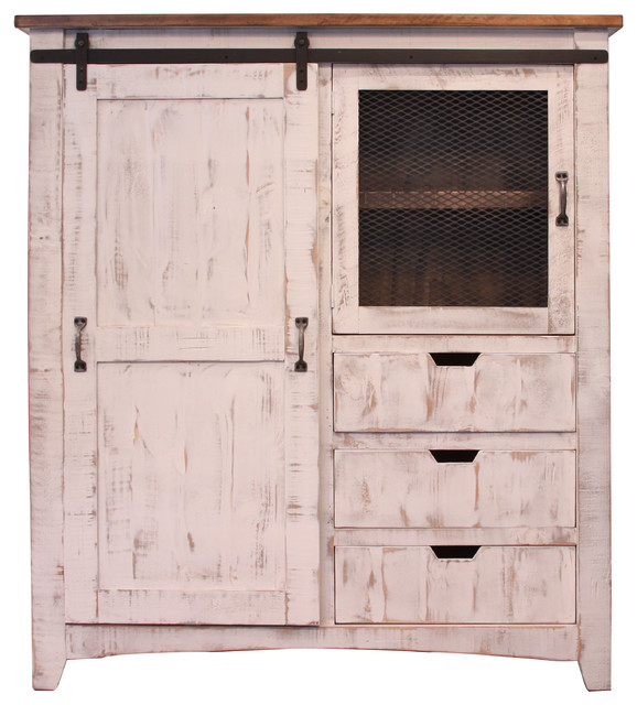 Anton Sliding Barn Door Gentleman\u0027s Chest Armoire White rustic-armoires -and-wardrobes