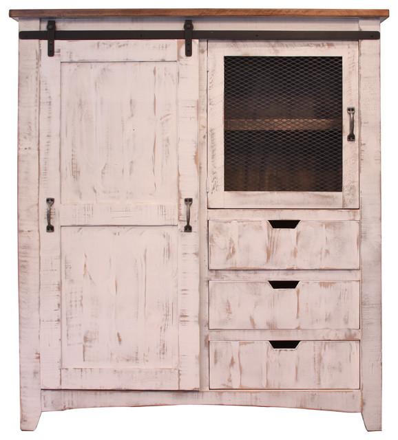 Anton Sliding Barn Door Gentleman S Chest Armoire White