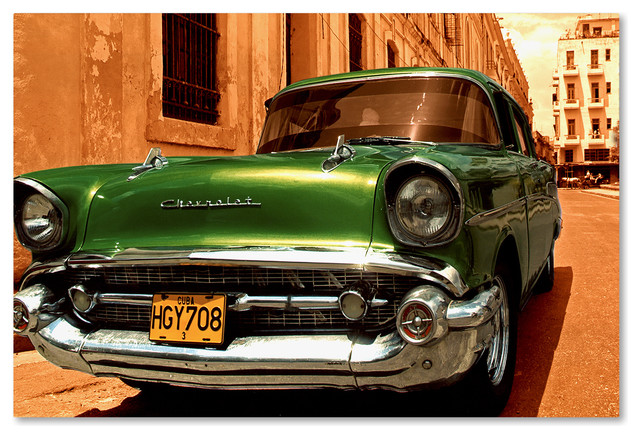 """Poster 24/"""" x 16/"""" Green Classic Chevrolet"""