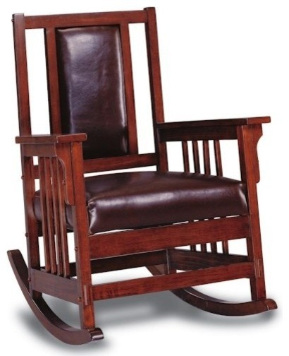 Coaster Fine Furniture   Mission Style Wood Rocker With Leather Match Seat  And Back   Rocking