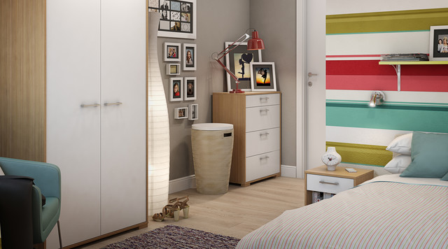 Evie Freestanding Oak White Bedroom Furniture Contemporary