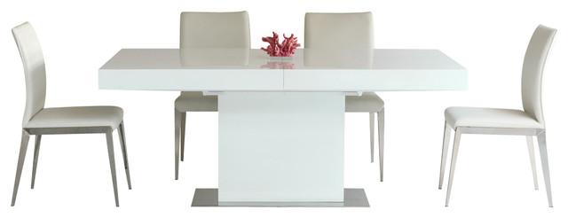 Durham Modern Extendable Dining Table Modern Dining Tables - White lacquer dining table