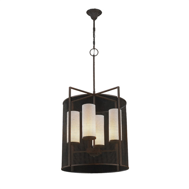 Modern Industrial 4-Light Flemish Brass Lattice Shade Fau Alabaster Pendant.