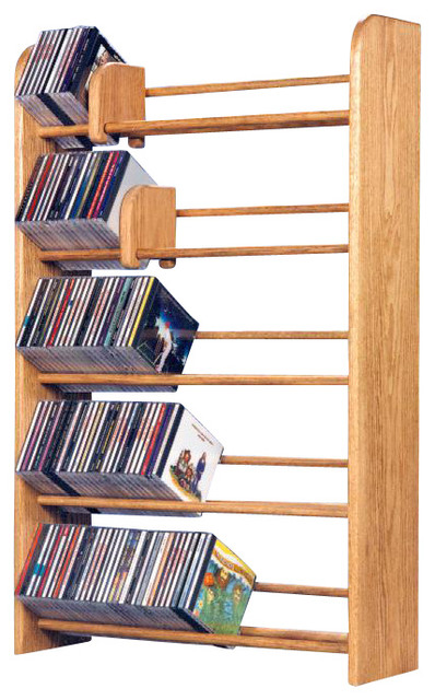 Solid Oak 5 Row Dowel Cd Rack Modern Media Racks And Towers By