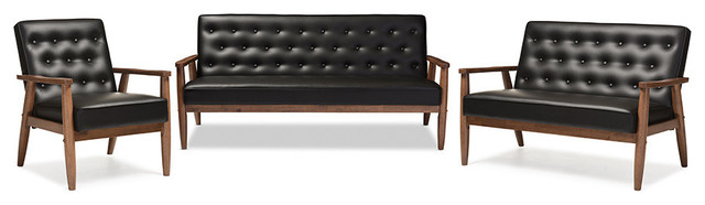 Sorrento Retro Black Faux Leather Upholstered Wooden 3-Piece Living ...