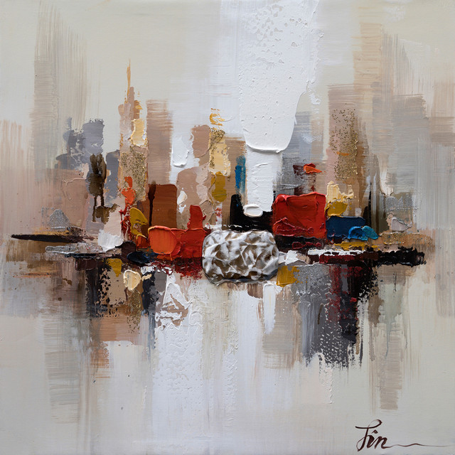 City Ruins Ii- Abstract Hand Painted Canvas Art, Modern Wall Decor Artwork.