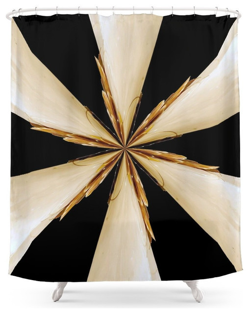 society6 black, white and gold star shower curtain - contemporary