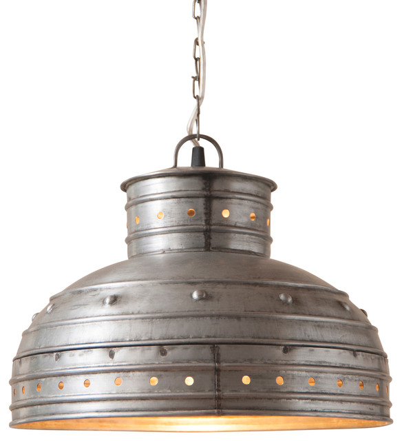Breakfast Table Pendant In Brushed Tin.