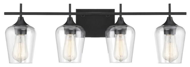 Octave 4 Light Bathroom Vanity Light in Black