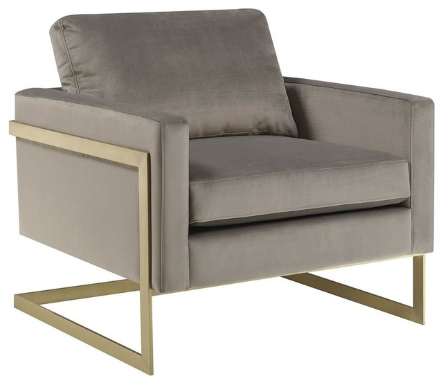 Modern Gold Frame Accent Chair Gray Contemporary