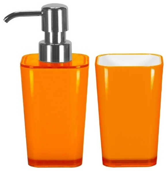 Bathroom Accessories Set, 2 Pieces, Liquid Soap Dispenser and Tumbler, Orange