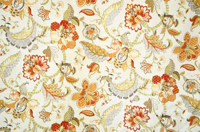Indienne Fabric Jacobean Floral Orange Traditional