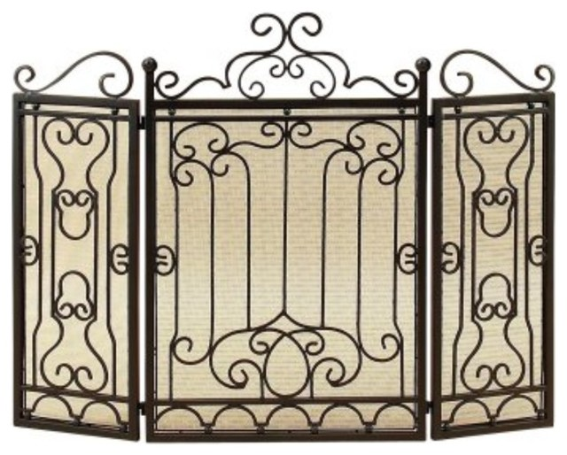 Vintage Style 3-Panel Metal Fire Screen, Black.