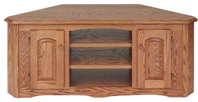 Solid Wood Oak Country Corner Tv Stand With Cabinet Traditional