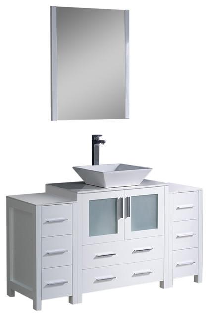 Fresca Torino 54 White Modern Bathroom Vanity 2 Side Cabinets Vessel Sink Contemporary