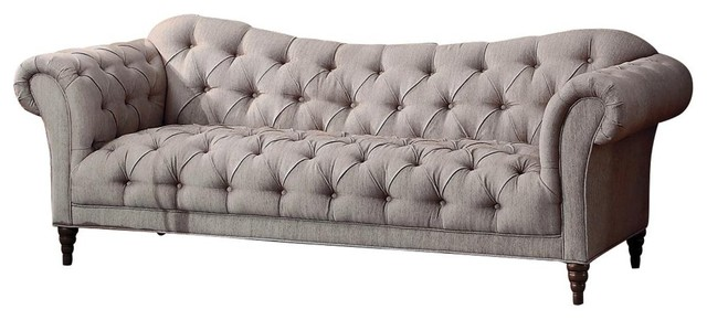 Super Stella French Button Tufted Sofa Neutral Beige Fabric Home Interior And Landscaping Analalmasignezvosmurscom