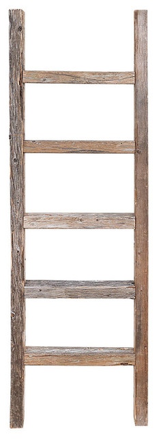 Asher Decorative Reclaimed Barn Wood Ladder, 4&x27;.
