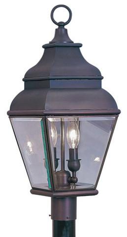 Livex Lighting 2-Light Bronze Outdoor Post Lantern.