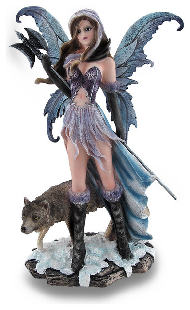 Winter Warrior Fairy Holding Poleaxe With Wolf Sculptural Statue