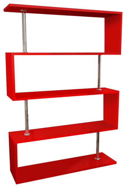 """Bliss Red 35""""x51""""x10"""" Modern Bookcase."""